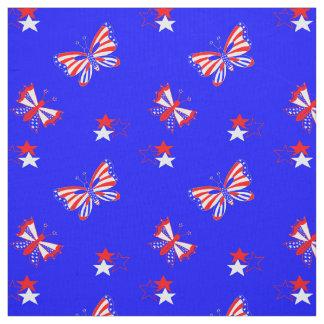 Tecido Borboletas e estrelas patrióticas