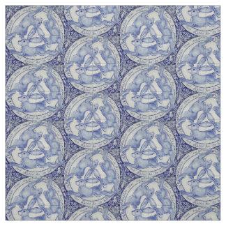 Tecido branco azul do medalhão do trio do pássaro