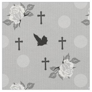 Tecido branco do gótico dos bastões e dos rosas