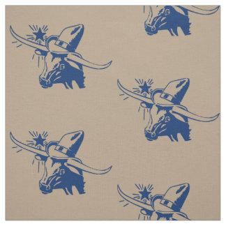 Tecido Cabeça do boi de Longhorn com o vaqueiro azul
