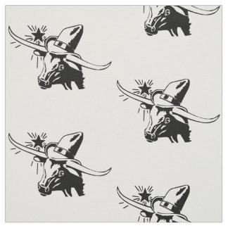 Tecido Cabeça do boi de Longhorn com preto do vaqueiro