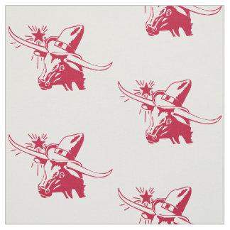 Tecido Cabeça do boi de Longhorn com vermelho de Texas do
