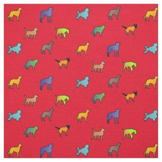 Tecido Cães coloridos