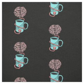 Tecido Café para o cérebro. Ilustração engraçada do café