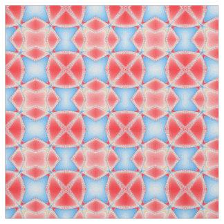 Tecido Caleidoscópio do Fractal em vermelho & em azul