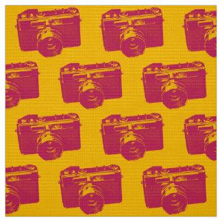 Tecido Câmera alaranjada & vermelha do pop art