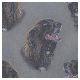 Tecido Cão de Engish cocker spaniel. Pintura das belas