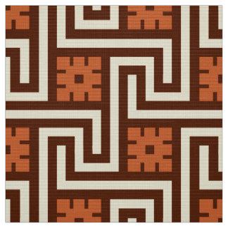 Tecido Chave grega, Brown, bege e oxidação de Deco
