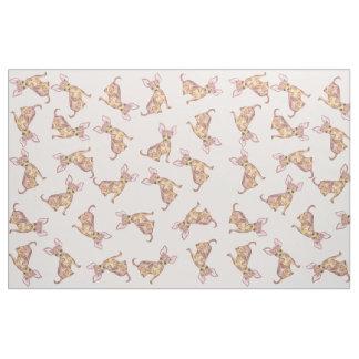 Tecido Chihuahua bonito Brown cor-de-rosa pintado