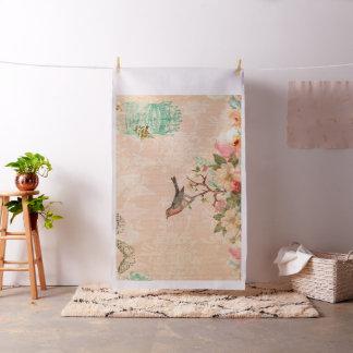 Tecido Chique, pássaro, borboleta, laço, floral, país ch