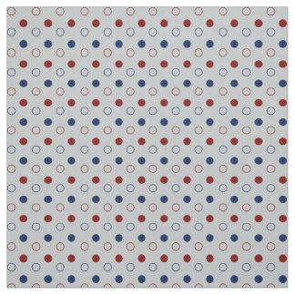Tecido Círculos azuis escuro, vermelhos e brancos das