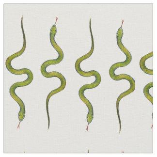 Tecido Cobras escamosos Slithering do verde desenhado mão