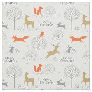 Tecido Coelho bonito dos cervos da floresta do Natal -