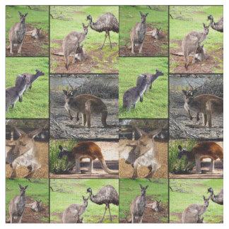 Tecido Colagem da foto do canguru,