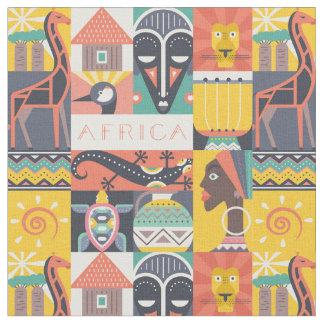 Tecido Colagem simbólica africana da arte