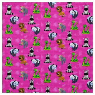 Tecido Convenção animal cor-de-rosa