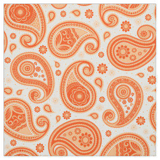 Tecido Cor da laranja do teste padrão de Paisley