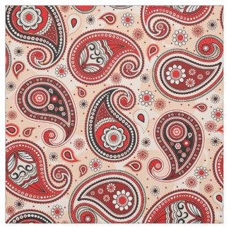 Tecido Cor marrom vermelha do teste padrão de Paisley