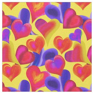 Tecido Corações pintados brilhantes no dia dos namorados