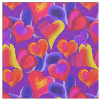 Tecido Corações pintados no dia dos namorados do roxo |