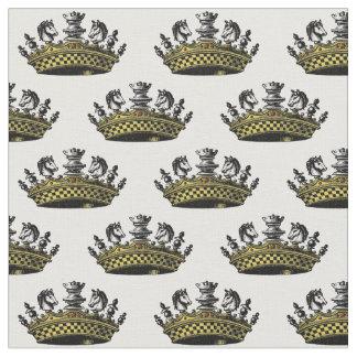 Tecido Coroa do vintage com cor das partes de xadrez