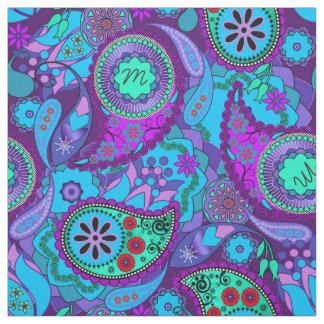 Tecido CPM colorido de turquesa do monograma de Paisley