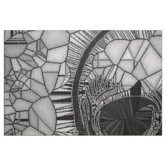 Tecido Crânio de vidro do mosaico, branco preto