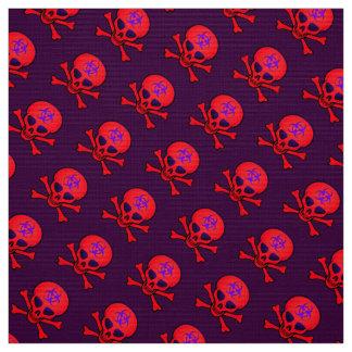 Tecido Crânio vermelho e Crossbones do Biohazard