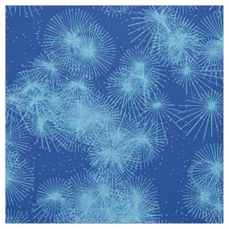 Tecido Cristal de gelo Starbursts, fundo azul profundo