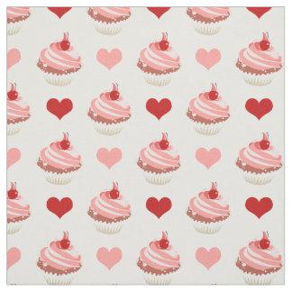 Tecido cupcakes bonitos e corações da morango