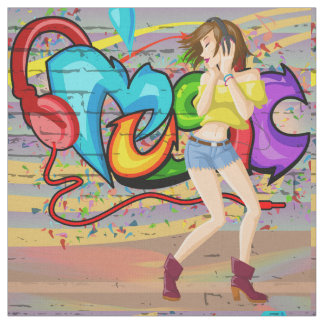 Tecido da parede dos grafites da música da menina
