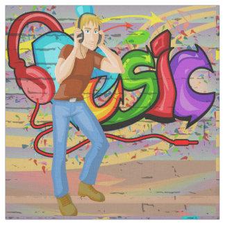 Tecido da parede dos grafites da música do homem