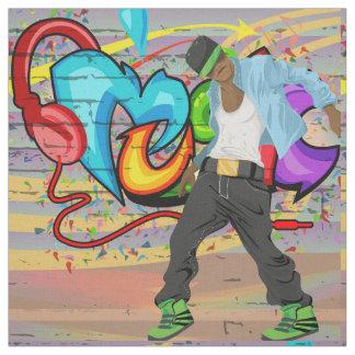 Tecido da parede dos grafites da música do homem 2