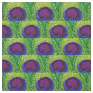 Tecido da pena do pavão - impressão azul roxo