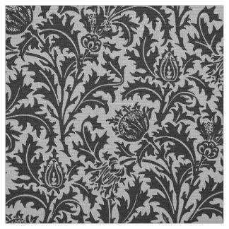Tecido Damasco do cardo de William Morris, cinza de