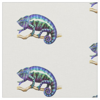 Tecido de algodão azul do camaleão da pantera