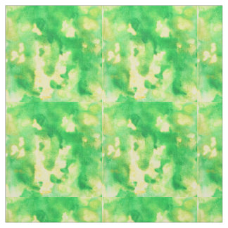 Tecido de algodão penteado aguarela do verde