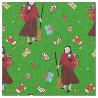tecido de Befana da bruxa do Natal