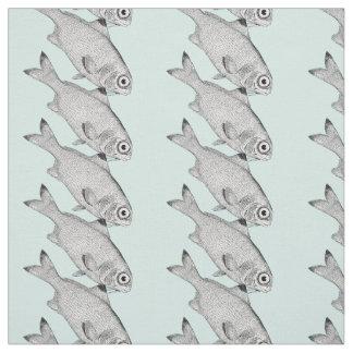 Tecido Desenho estranho dos peixes do vintage