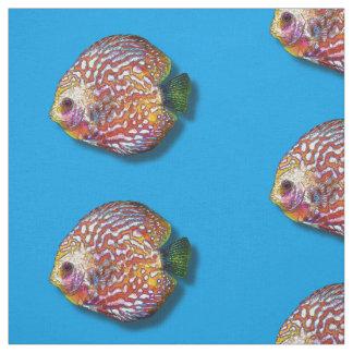 Tecido Desenho exótico colorido psicadélico dos peixes do