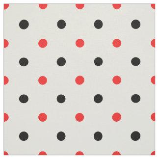 Tecido Design geométrico das bolinhas vermelhas e pretas