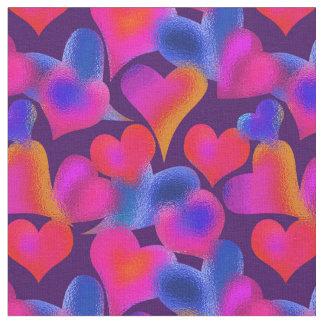 Tecido Dia dos namorados pintado vitral dos corações |