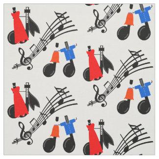 Tecido do impressão das notas da música