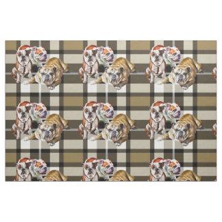 Tecido do impressão do buldogue da xadrez