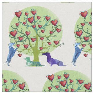 Tecido do jardim do amor dos Dachshunds