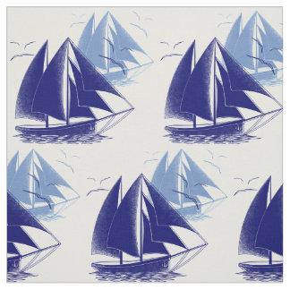 Tecido Do menino azul do barco do vintage a sala náutica