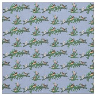 Tecido do partido do passarinho de zebra (azul)
