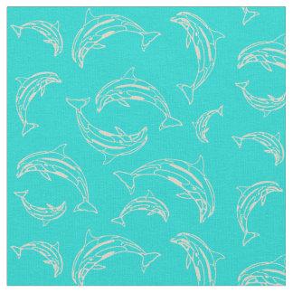 Tecido do teste padrão do esboço do golfinho do