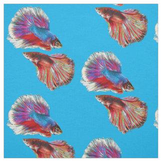 Tecido Dois peixes coloridos psicadélicos de combate