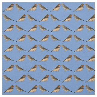 Tecido dos passarinhos de zebra (azul)